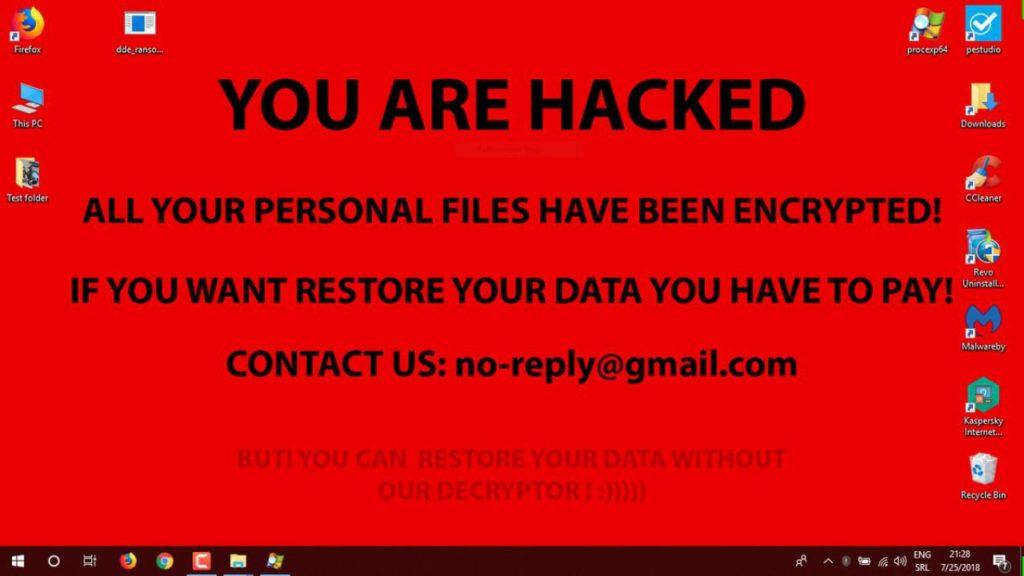 schermata di riscatto di un ransomware